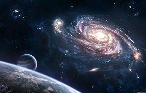 Относительно пустые участки Вселенной, которые лежат вне границ атмосфер небесных тел. Вопреки распространённым представлениям, космос не является абсолютно пустым пространством — в нём существует очень низкая плотность некоторых частиц (преимущественно водорода), а также электромагнитное излучение и межзвездное вещество. Слово «космос» имеет несколько различных значений. Иногда под космосом понимают всё пространство вне Земли, включая небесные тела